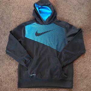 Boys Nike Therma-Fit Blue & Black pullover Hoodie